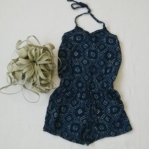 Girls Navy Ikat Short Romper Jumpsuit